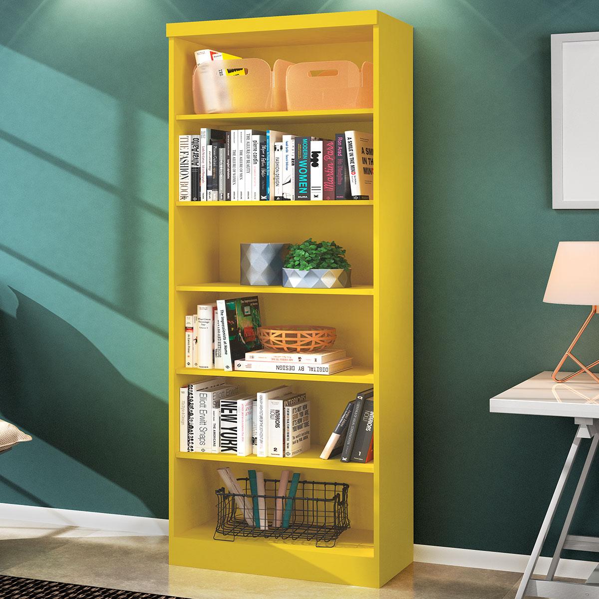 Livreiro Multiuso 5 Prateleiras Linus Amarelo Casa Chick