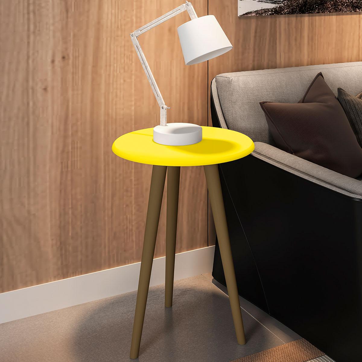 Mesa de Apoio Brilhante Amarelo Moveis Bechara