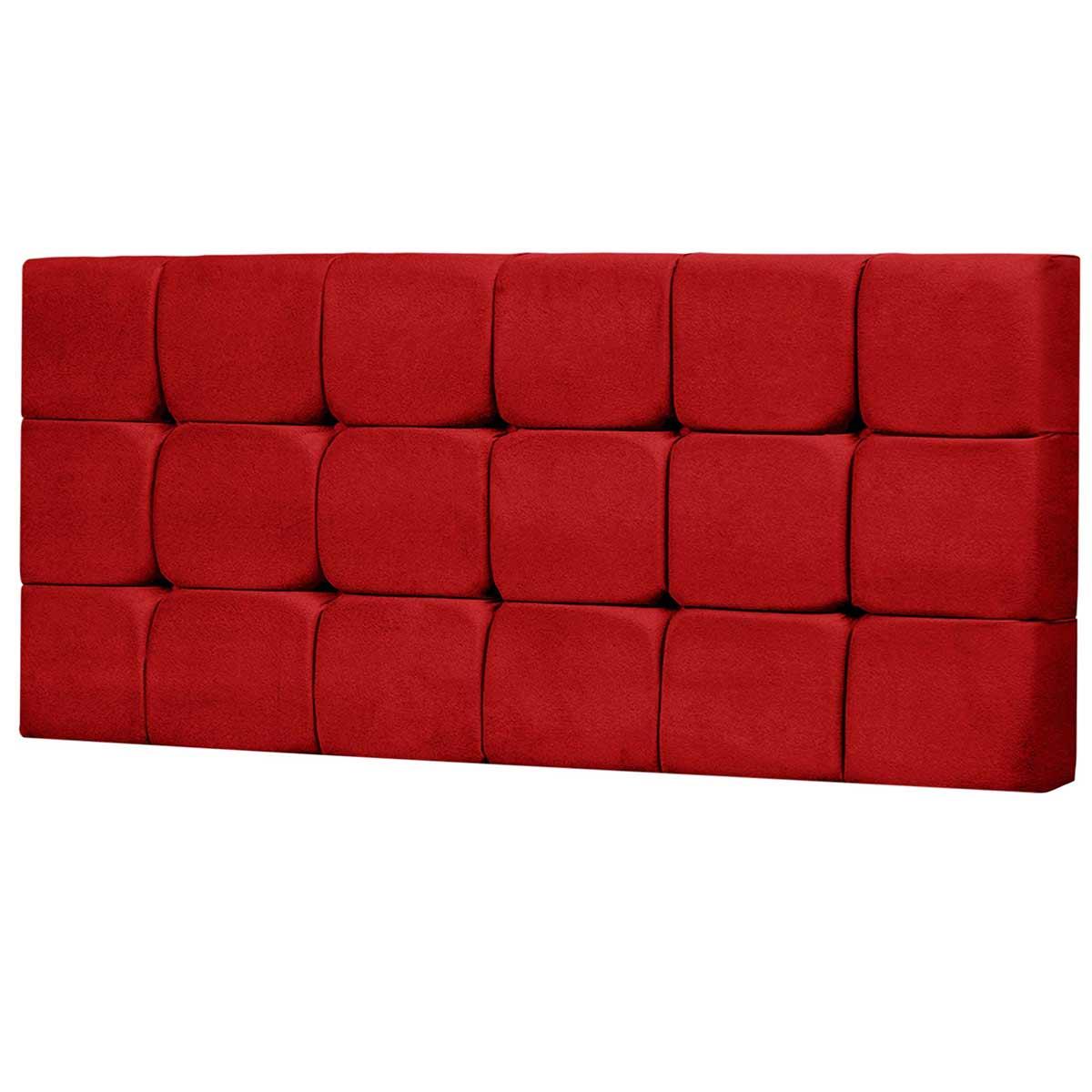 Cabeceira Painel Casal Estofada Espanha 140 cm Vermelho
