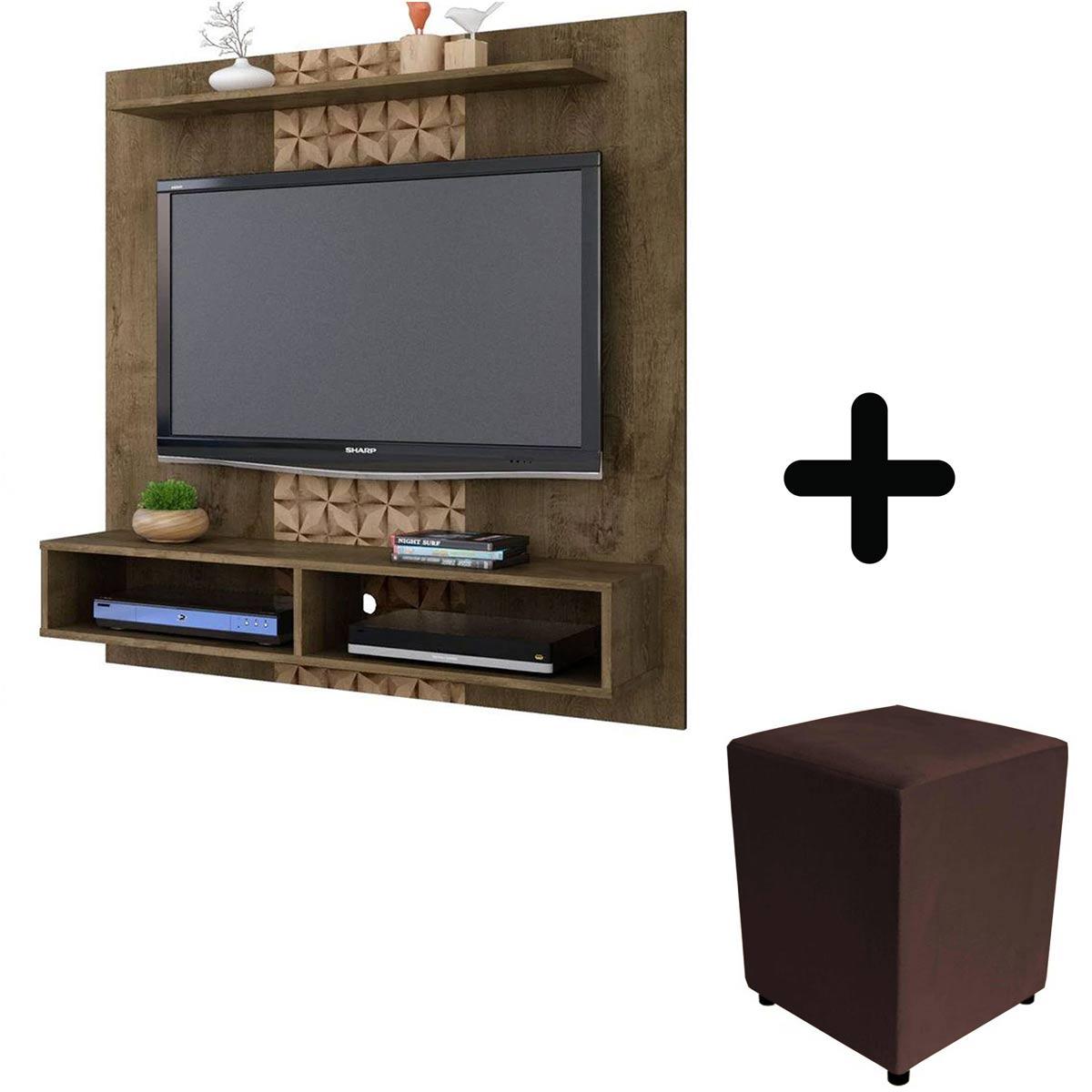 """Painel para Tv até 47"""" Madeira Rústica 3D com + R$1,00 Leve um Puff"""
