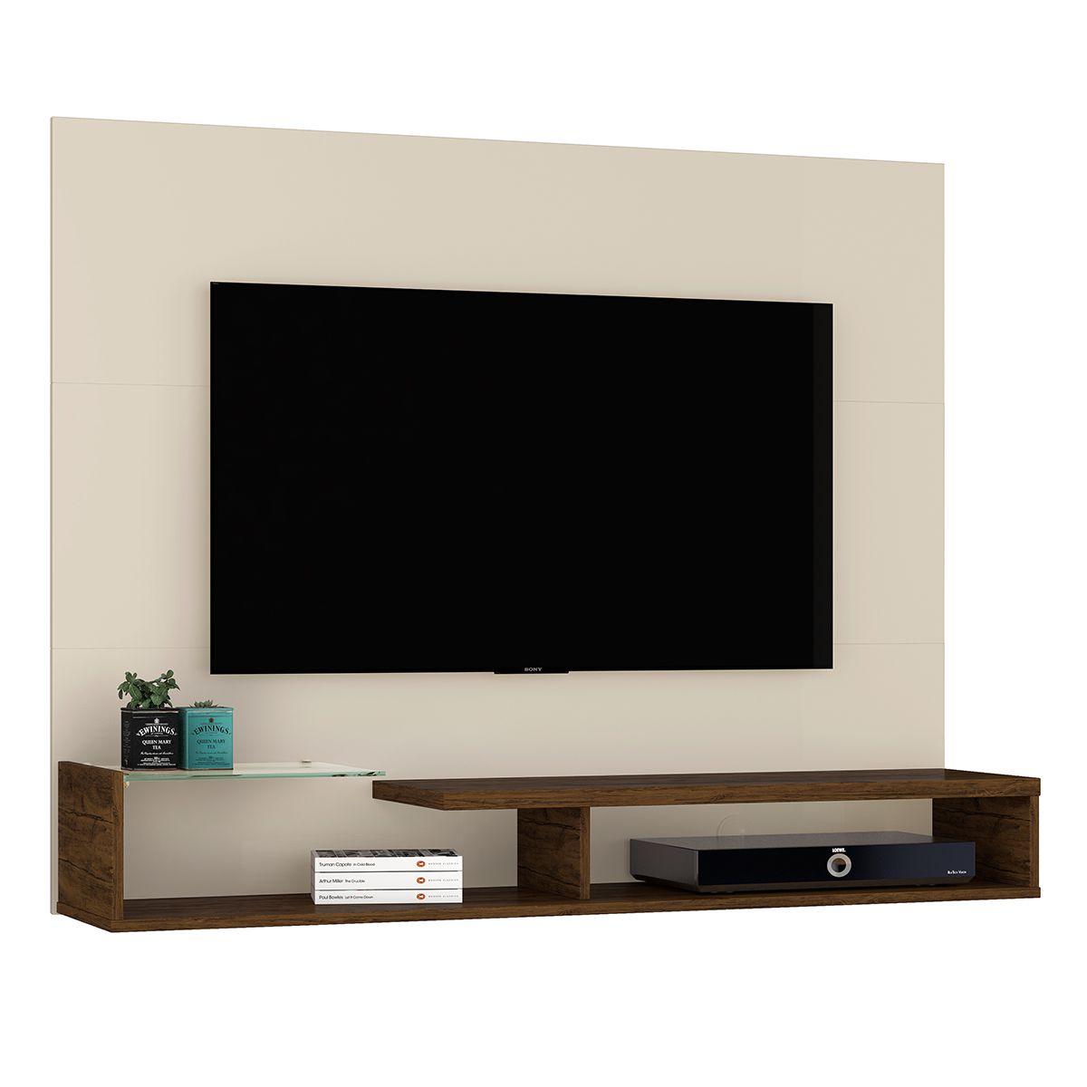 """Painel para Tv Estela Madetec Off White/Savana Tv de até 55"""""""