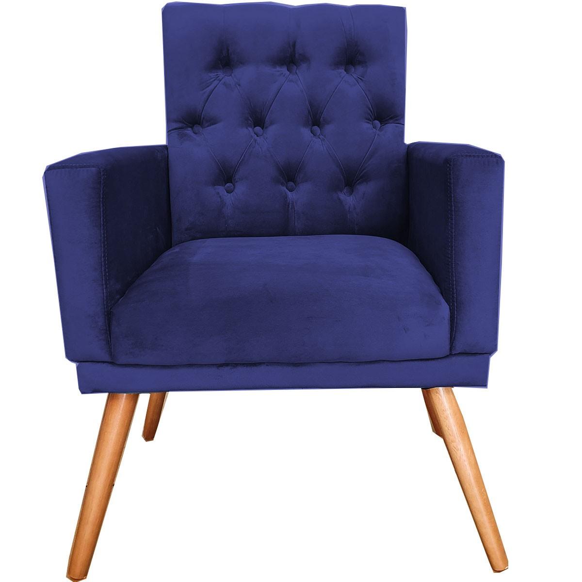 Poltrona Decorativa Alana Capitone Pé Palito Azul Marinho
