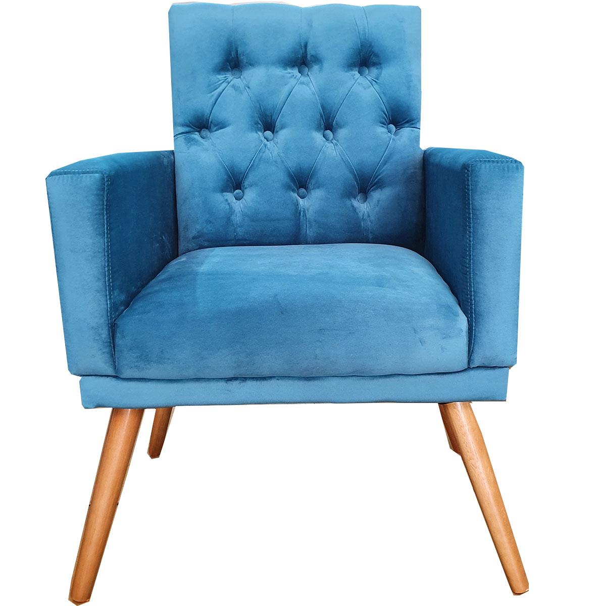 Poltrona Decorativa Alana Capitone Pé Palito Azul Turquesa