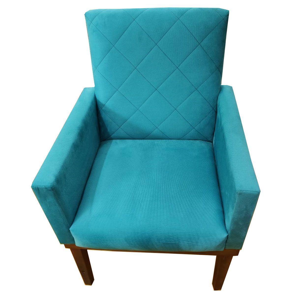 Poltrona Decorativa Beatriz Base Madeira Azul Turquesa