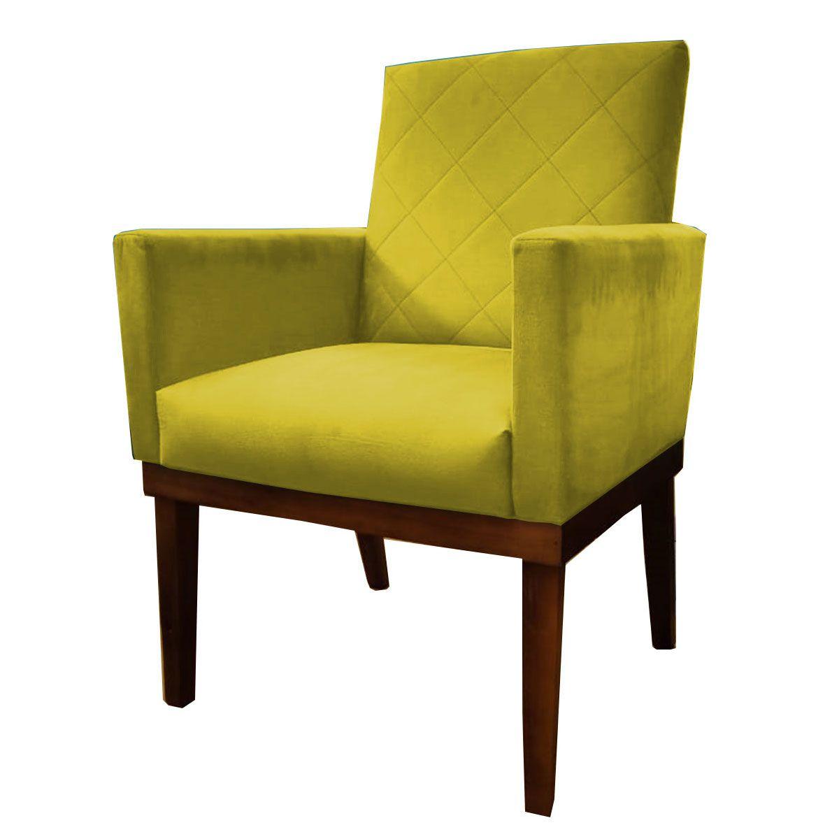 Poltrona Decorativa Beatriz Base Madeira Tecido Amarelo