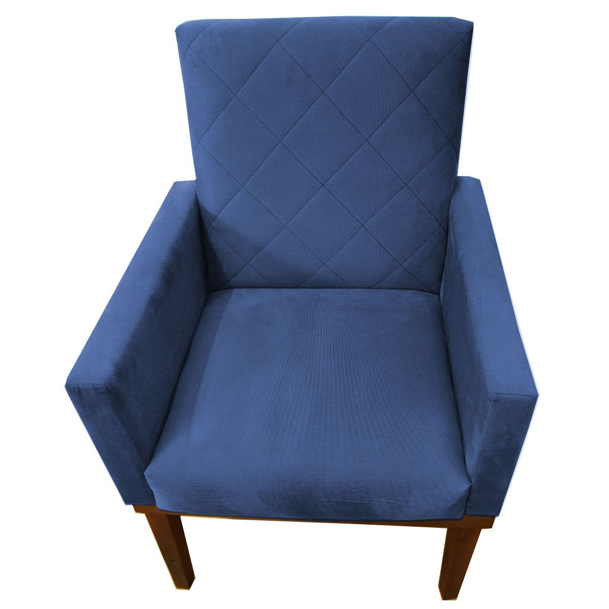 Poltrona Decorativa Beatriz Base Madeira Tecido Azul Marinho