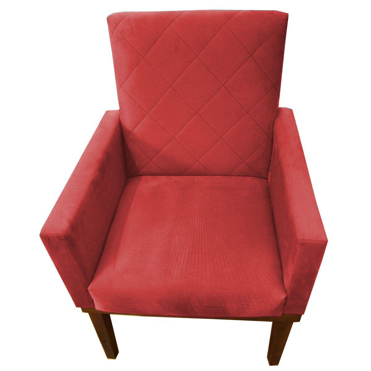 Poltrona Decorativa Beatriz Base Madeira Tecido Vermelho