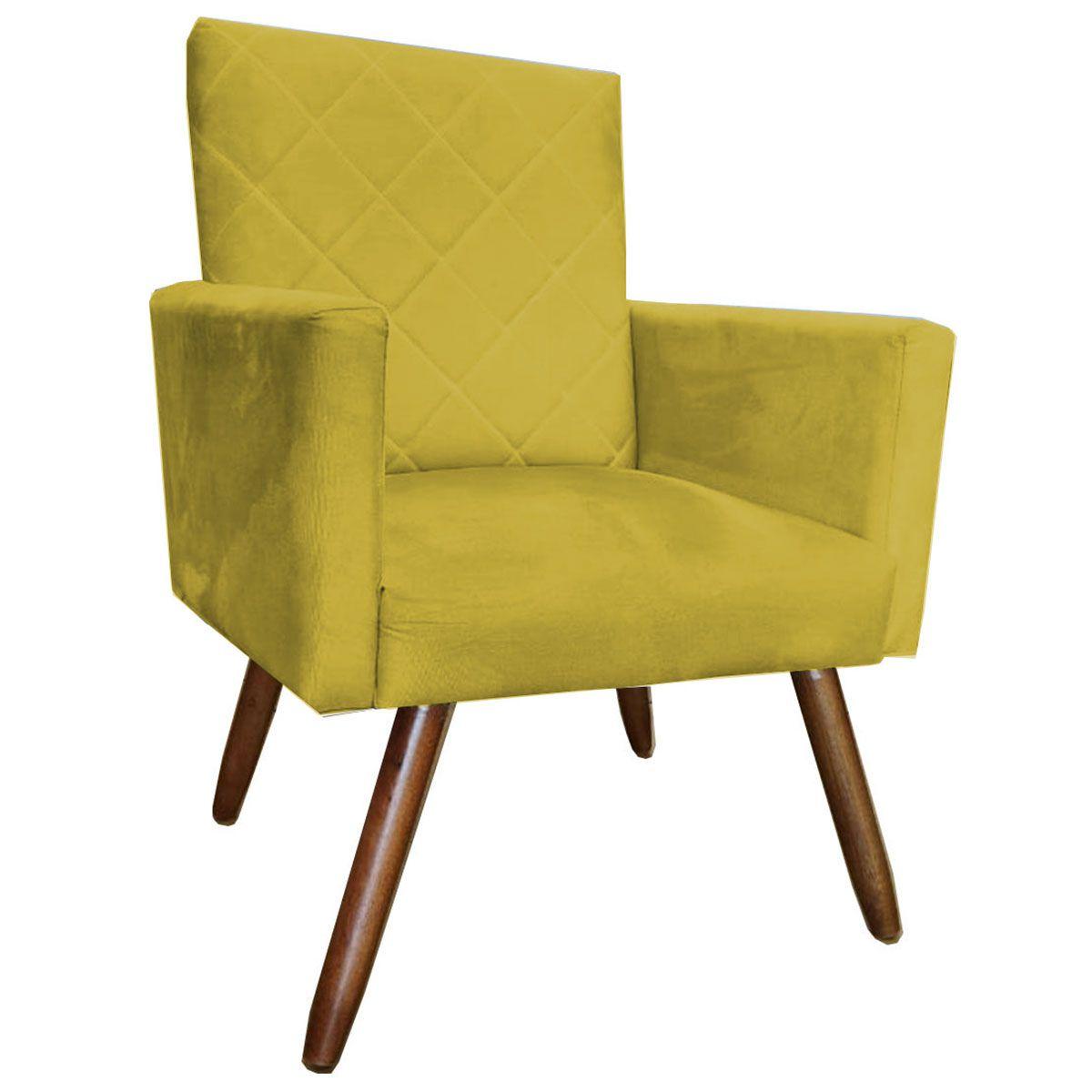 Poltrona Decorativa Beatriz Pé Palito Tecido Amarelo