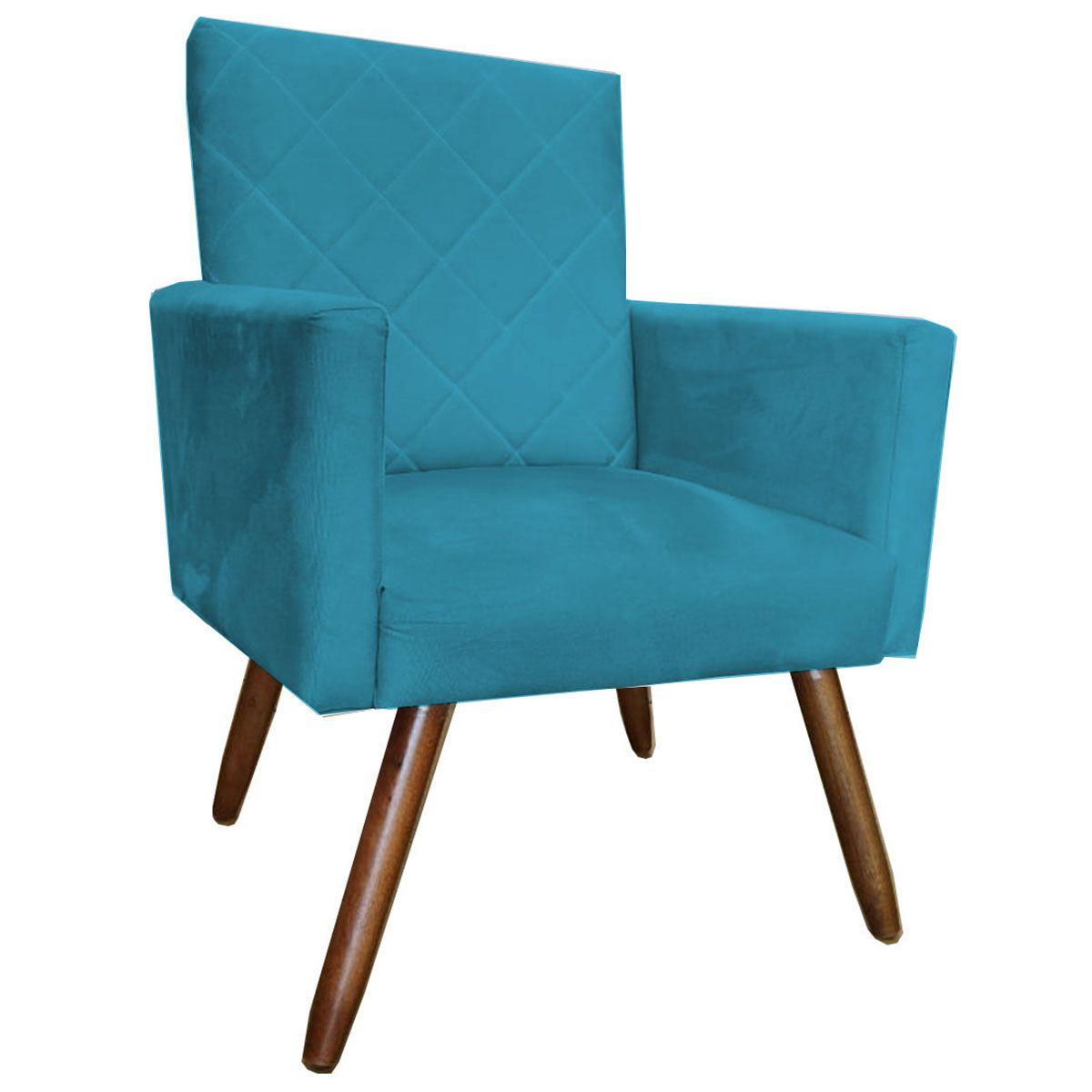 Poltrona Decorativa Beatriz Pé Palito Tecido Azul Turquesa