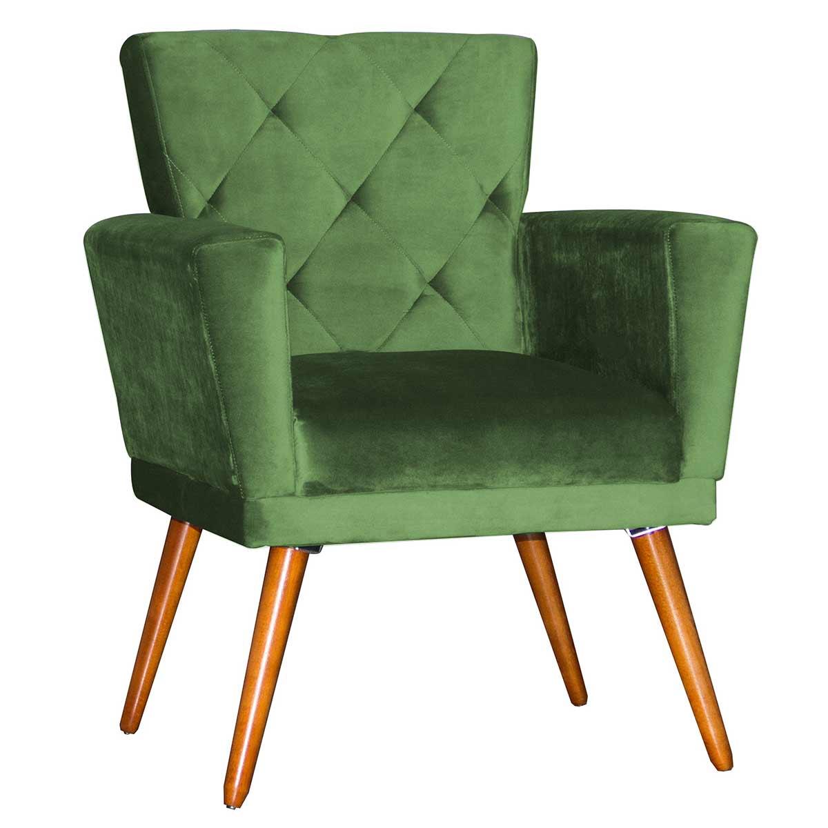 Poltrona Decorativa Camila Pé Palito Deluxe Verde