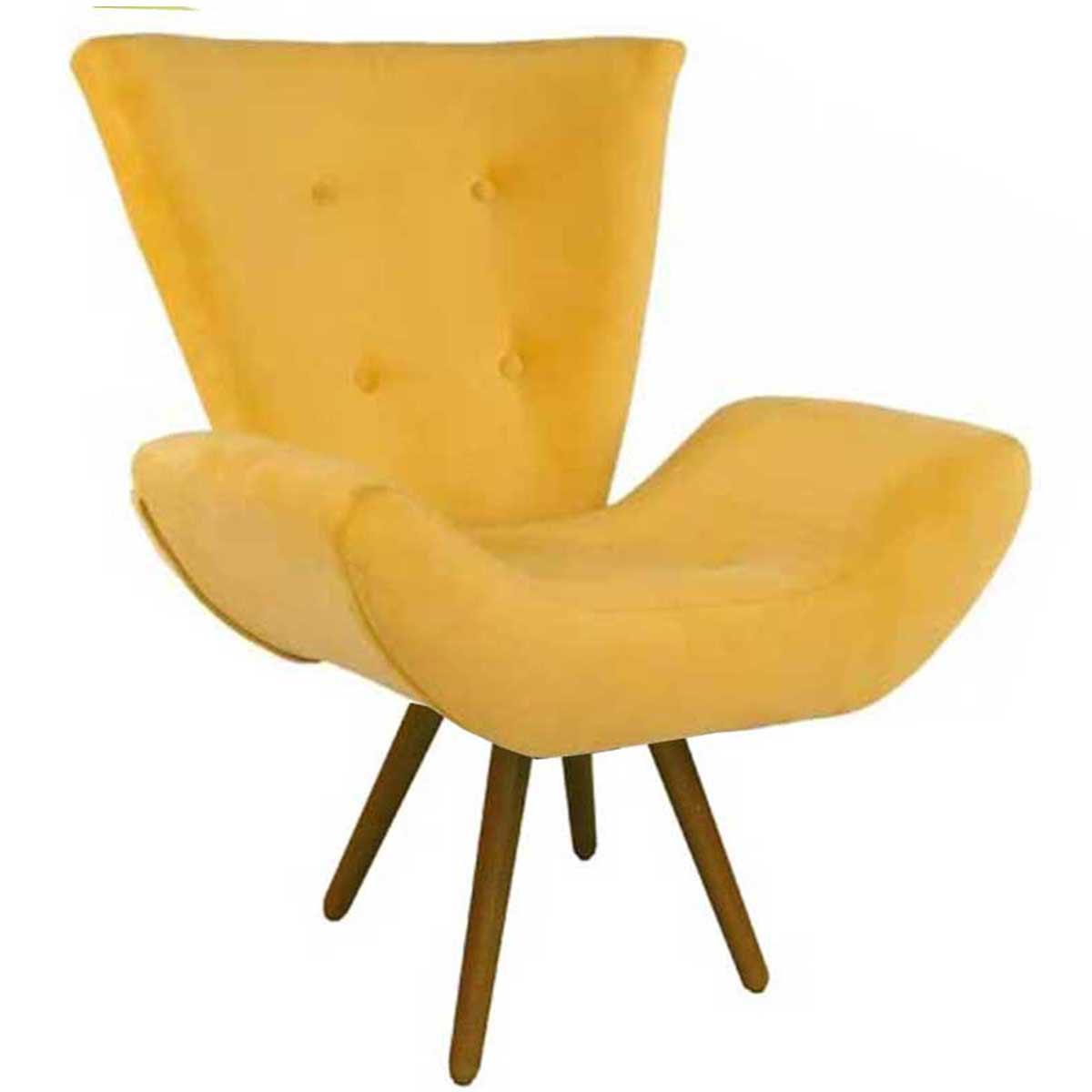 Poltrona Decorativa Diana Pé Palito Animale Amarelo