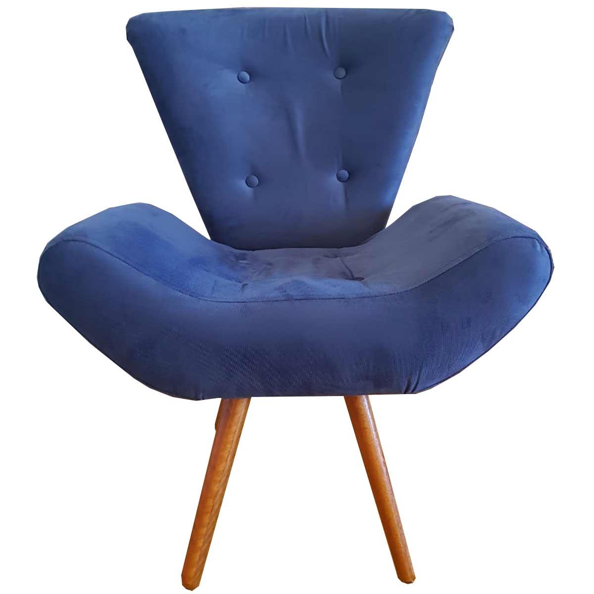 Poltrona Decorativa Diana Pé Palito Animale Azul Marinho