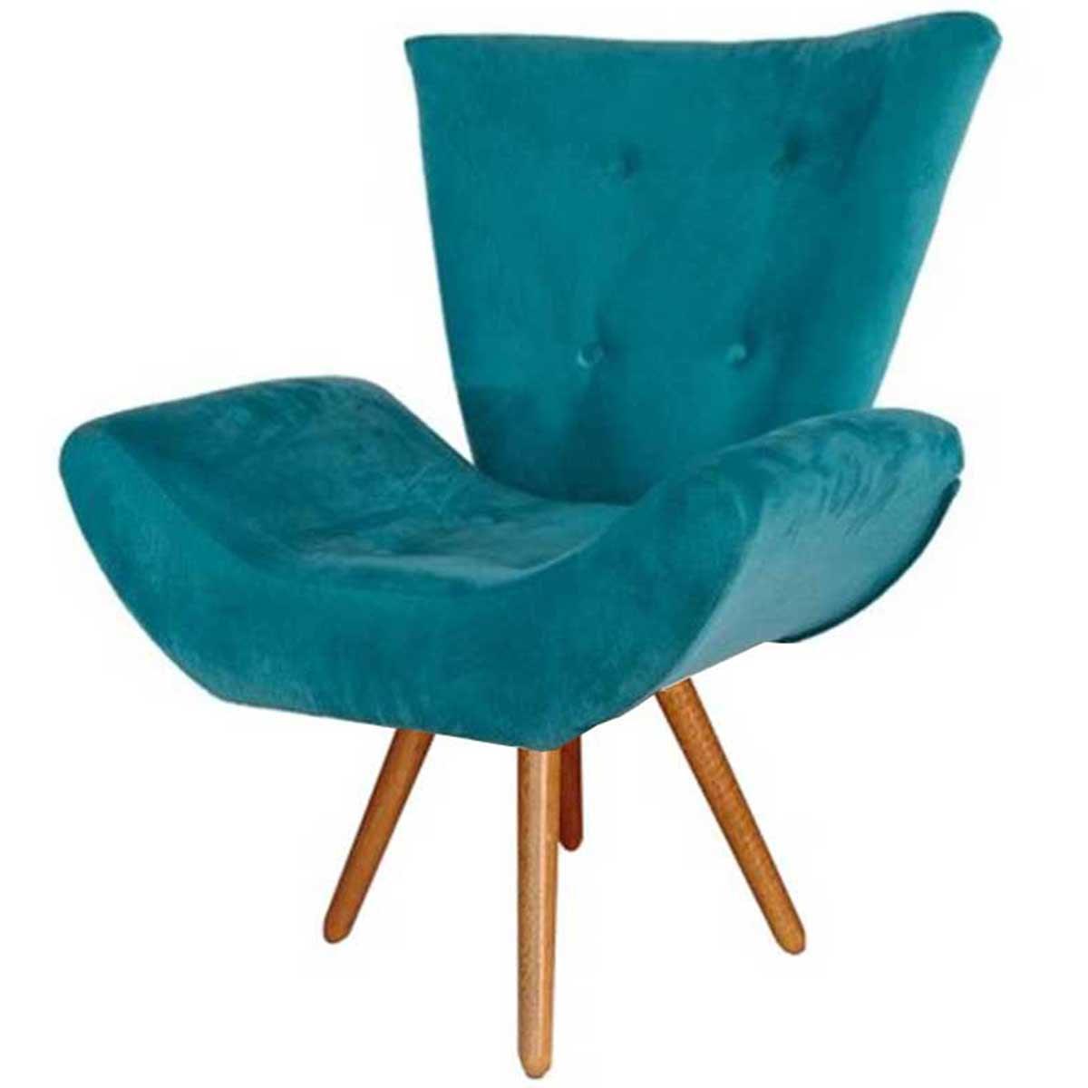 Poltrona Decorativa Diana Tavares Animale Azul Turquesa