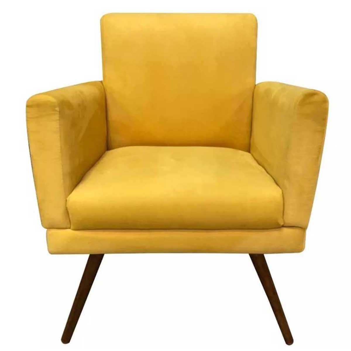 Poltrona Decorativa Estela Pé Palito Animale Amarelo