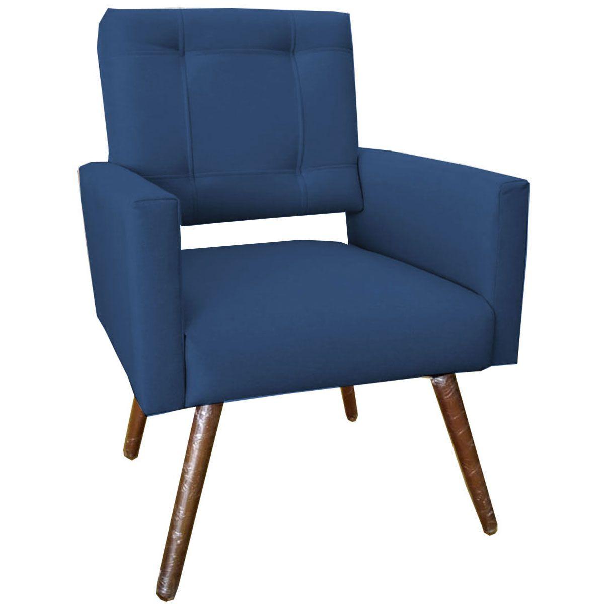 Poltrona Decorativa Isabela Pé Palito Tecido Azul Marinho