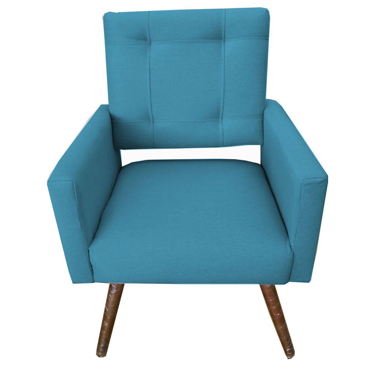 Poltrona Decorativa Isabela Pé Palito Tecido Azul Turquesa