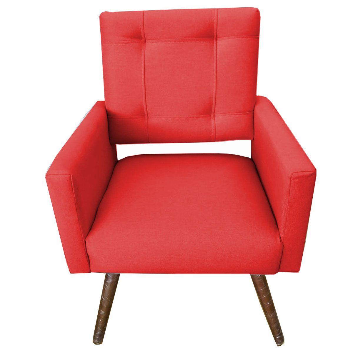 Poltrona Decorativa Isabela Pé Palito Tecido Vermelho