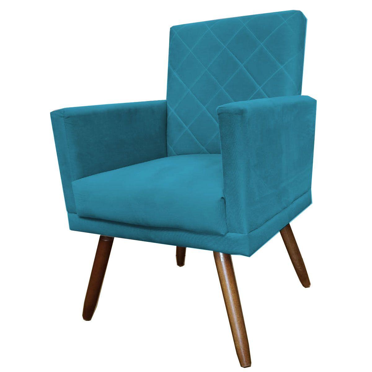 Poltrona Decorativa New Beatriz Pé Palito Azul Turquesa