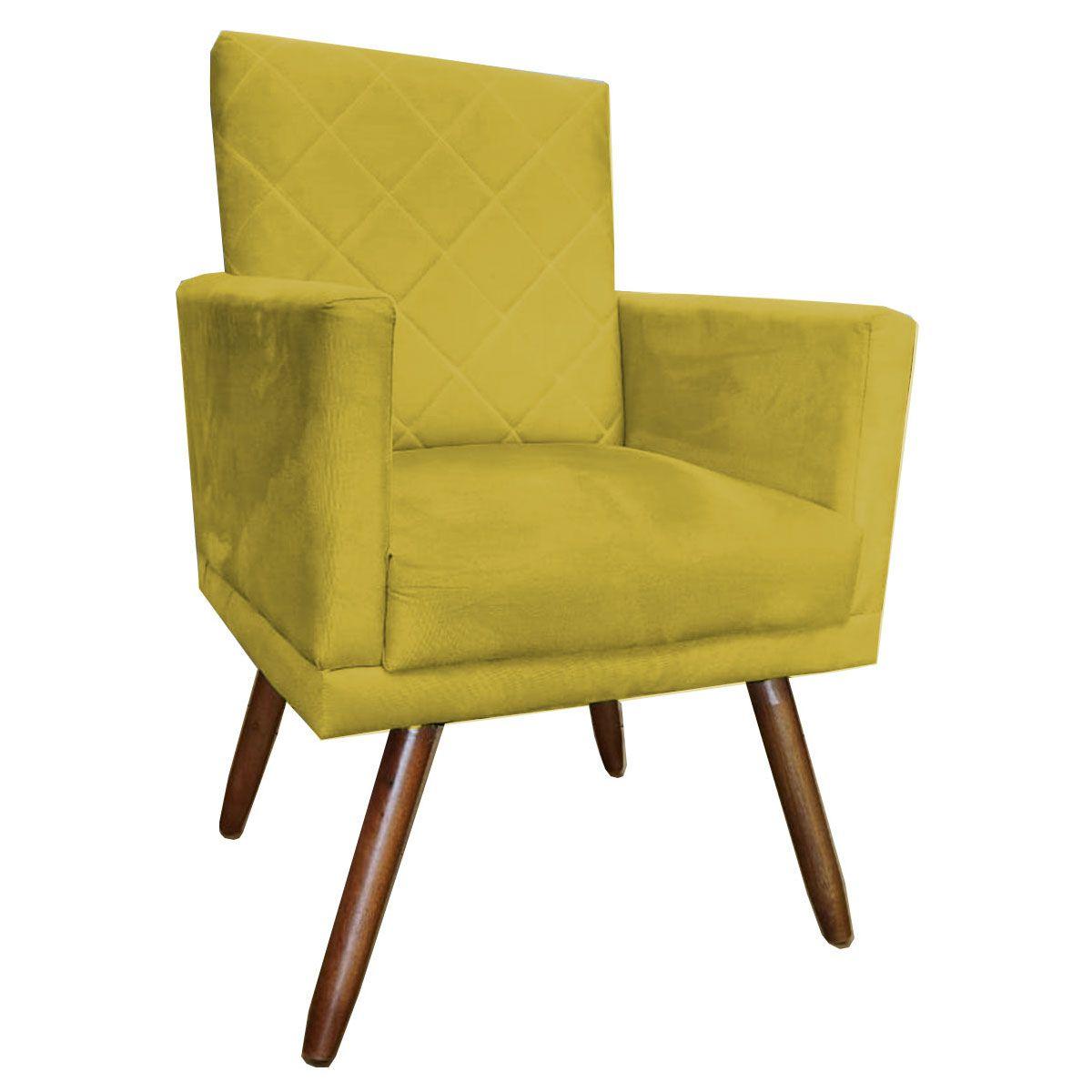 Poltrona Decorativa New Beatriz Pé Palito Tecido Amarelo