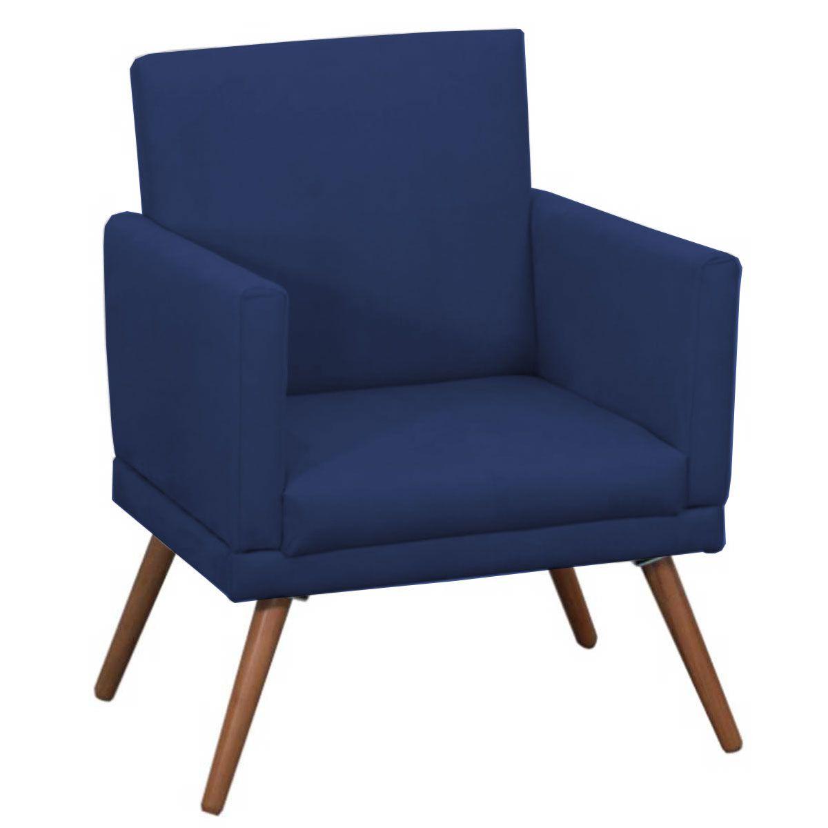 Poltrona Decorativa New Nina Luxo Pé Palito Azul Marinho