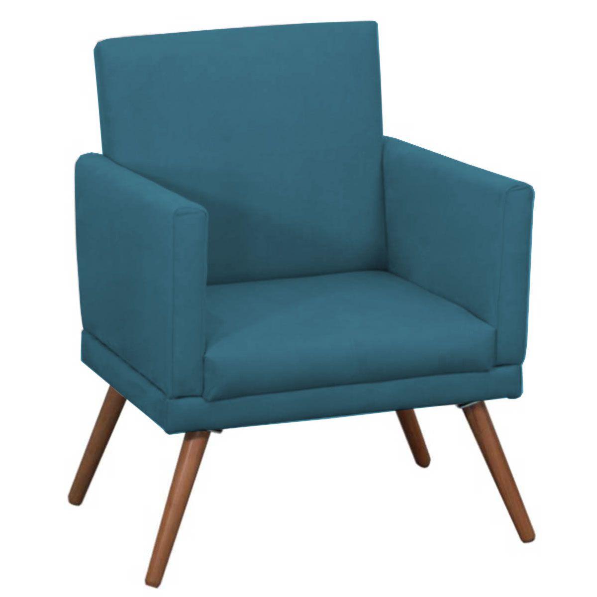 Poltrona Decorativa New Nina Luxo Pé Palito Azul Turquesa