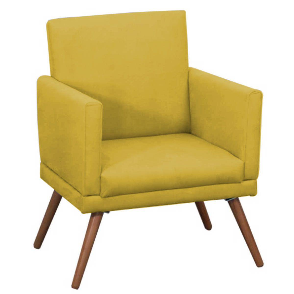Poltrona Decorativa New Nina Luxo Pé Palito Tecido Amarelo