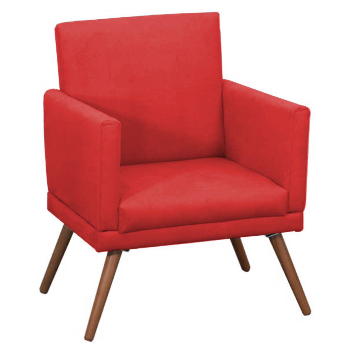 Poltrona Decorativa New Nina Luxo Pé Palito Tecido Vermelho