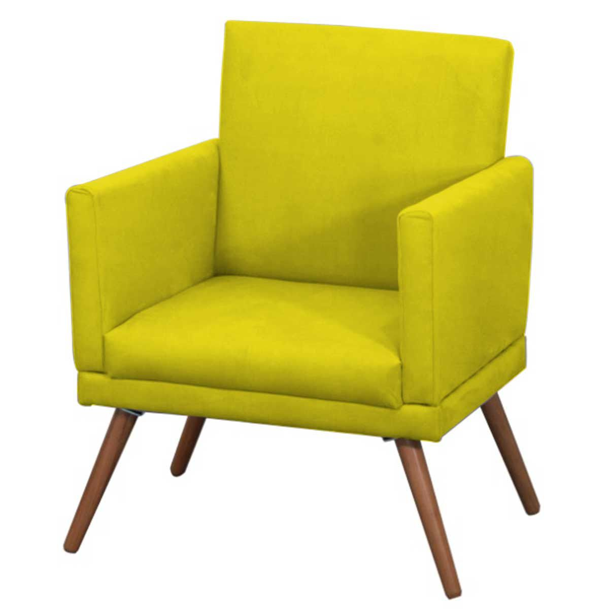 Poltrona Decorativa New Nina Pé Palito Suede Amarelo
