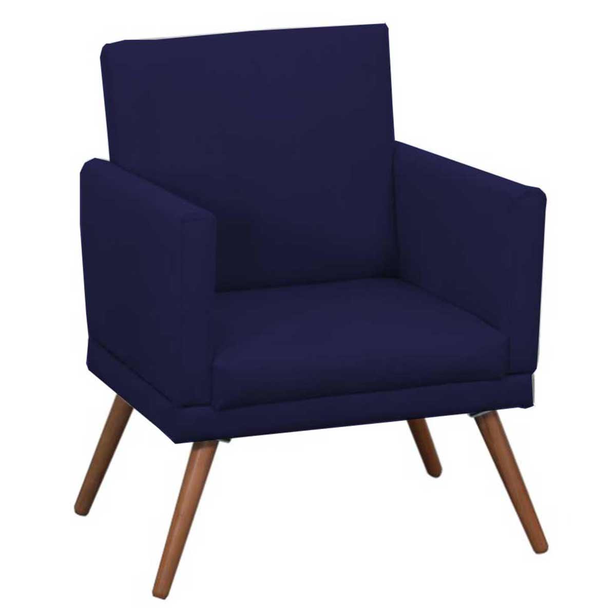 Poltrona Decorativa New Nina Pé Palito Suede Azul Marinho