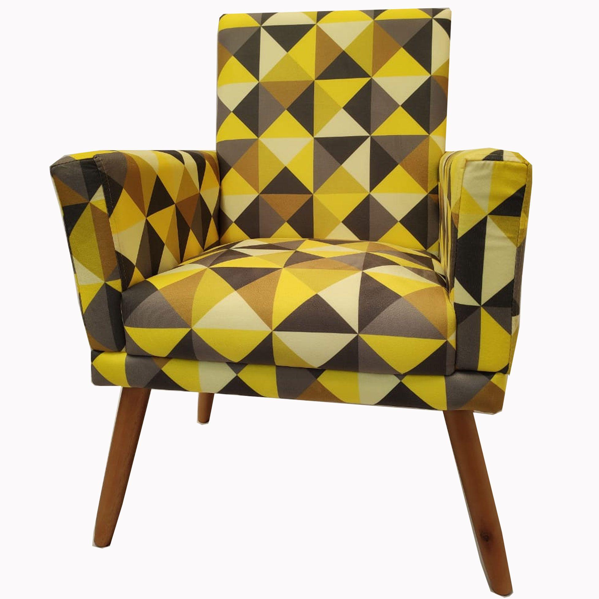 Poltrona Decorativa New Nina Pé Palito Triângulo Amarelo
