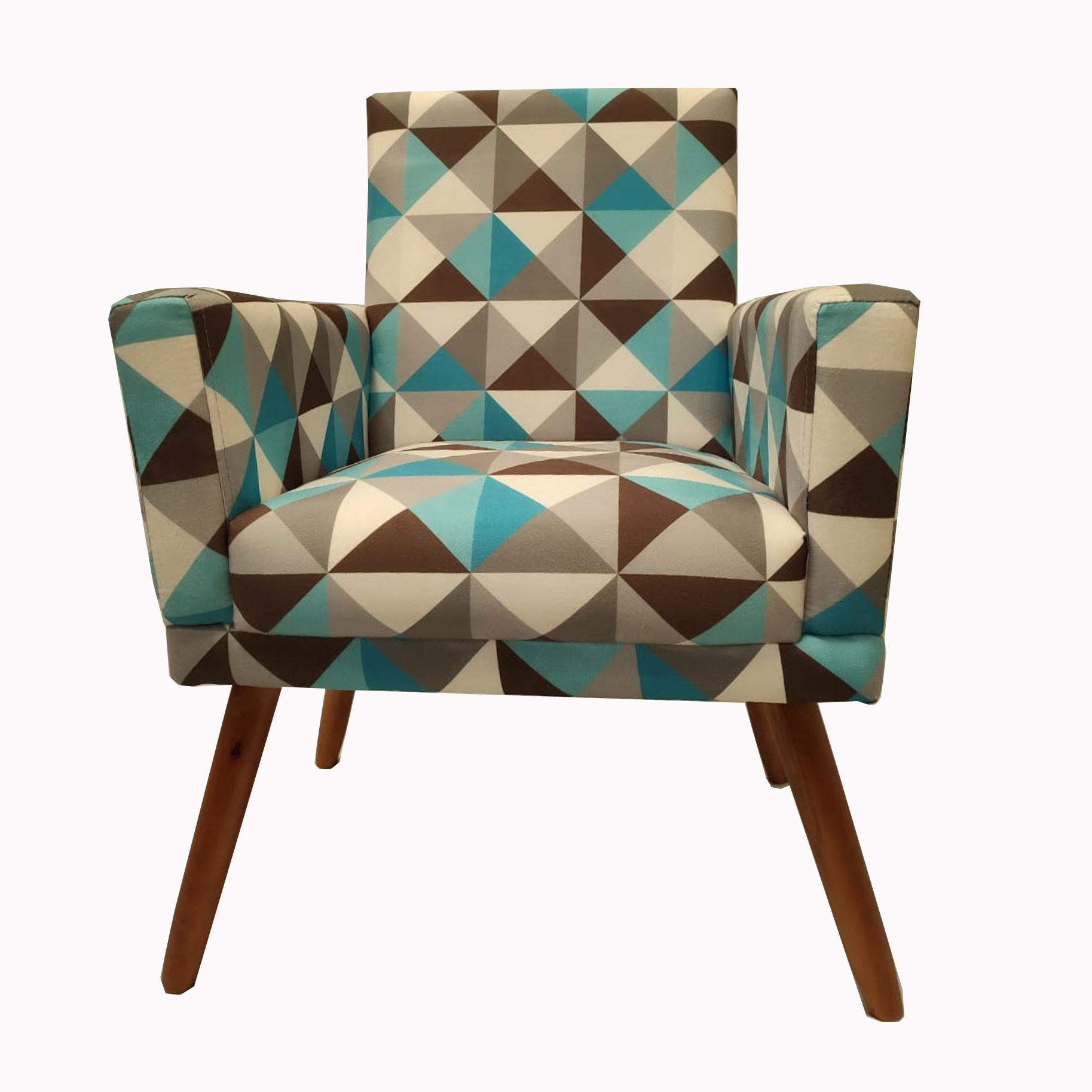 Poltrona Decorativa New Nina Pé Palito Triângulo Azul