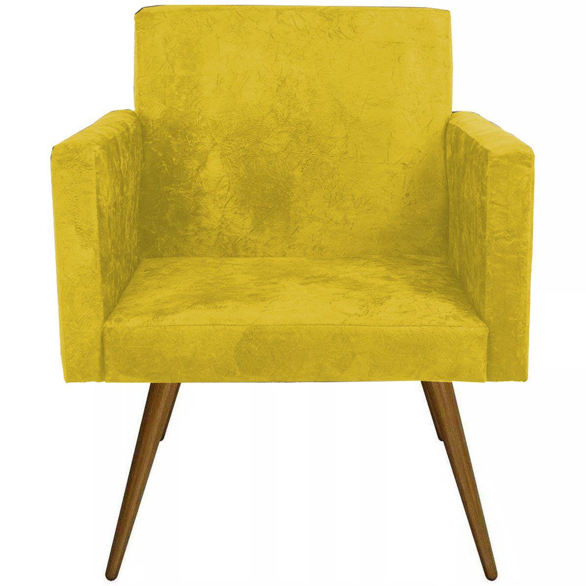 Poltrona Decorativa Nina Luxo Pés Palito Tecido Amarelo