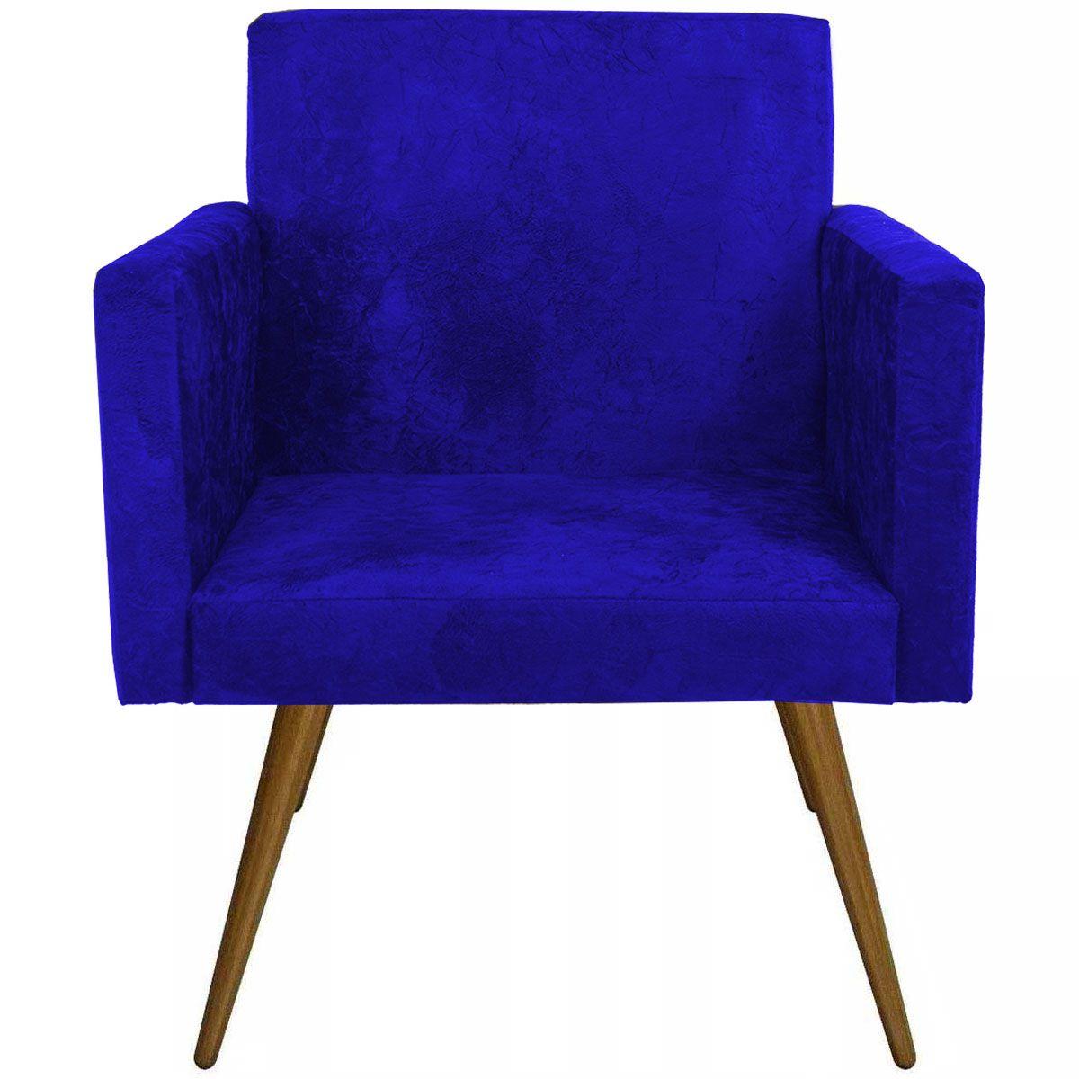 Poltrona Decorativa Nina Luxo Pés Palito Tecido Azul Marinho