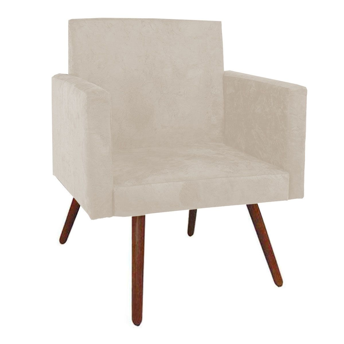 Poltrona Decorativa Nina Luxo Pés Palito Tecido Marfim