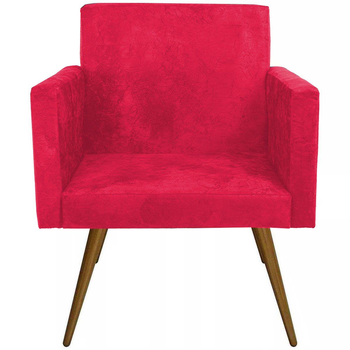 Poltrona Decorativa Nina Luxo Pés Palito Tecido Vermelho