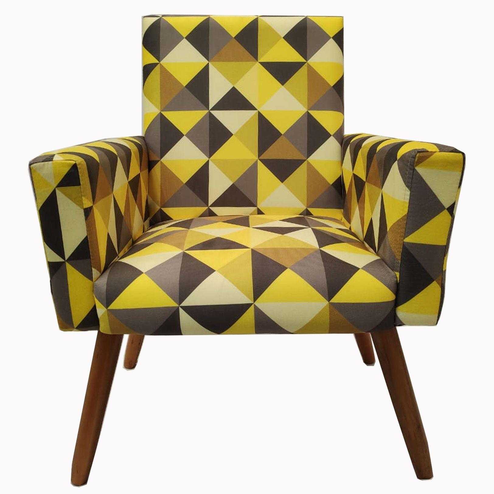 Poltrona Decorativa Nina Pé Palito Estampa Triângulo Amarelo