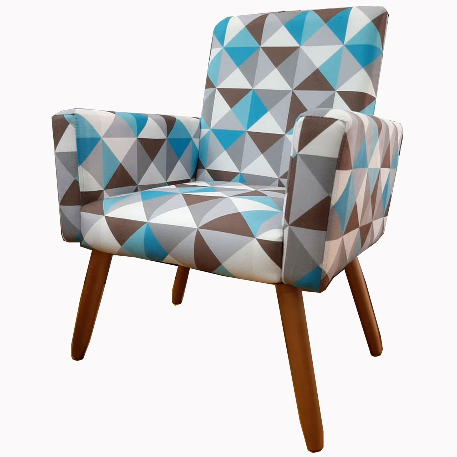 Poltrona Decorativa Nina Pé Palito Estampa Triângulo Azul