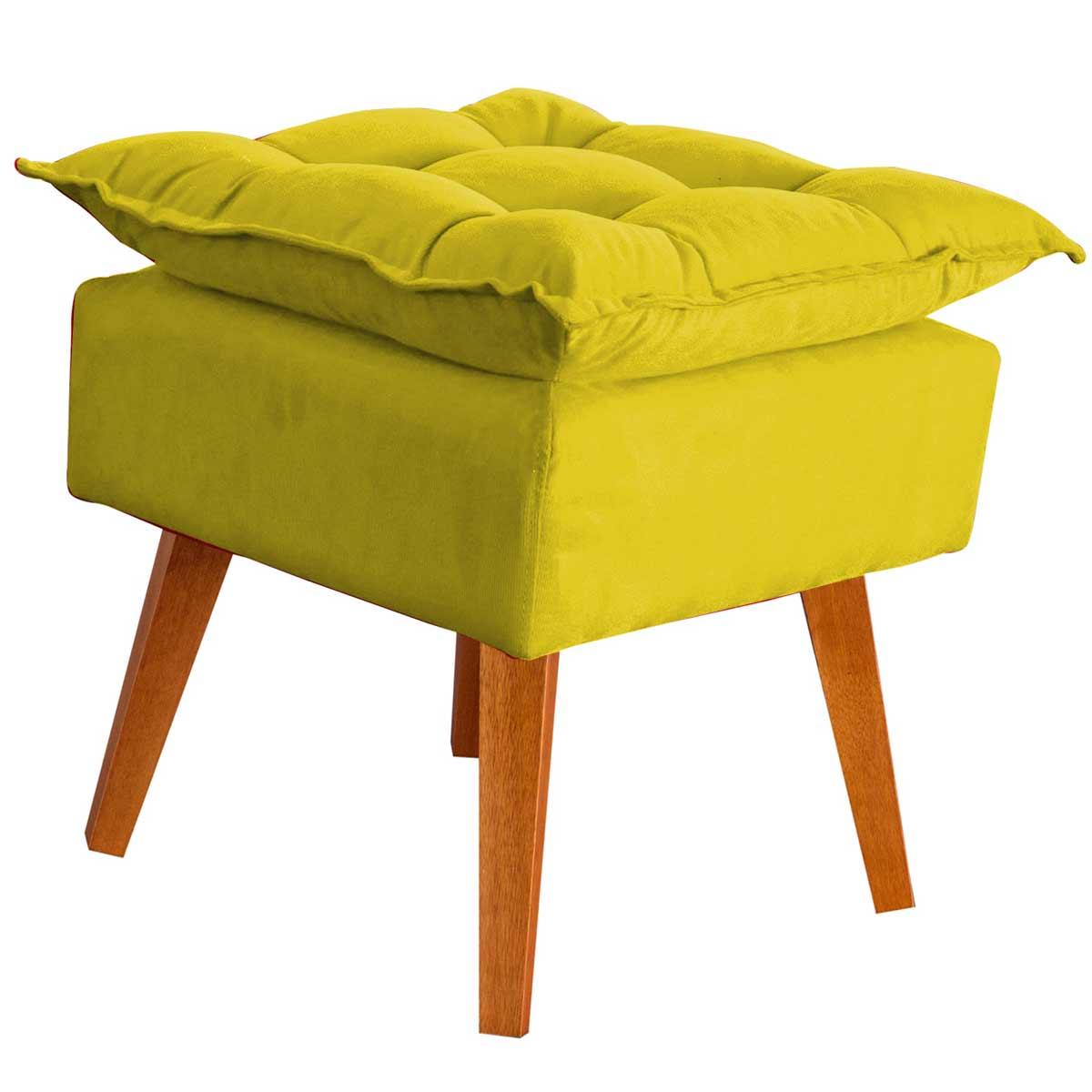 Puff Decorativo Helena com Pés de Madeira Amarelo