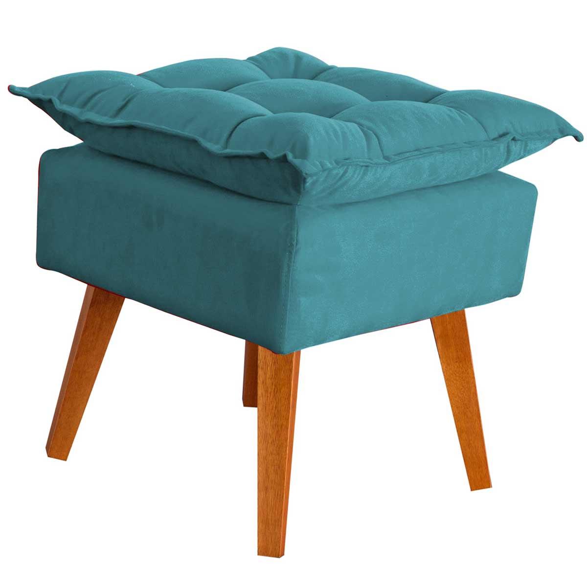 Puff Decorativo Helena com Pés de Madeira Azul Turquesa