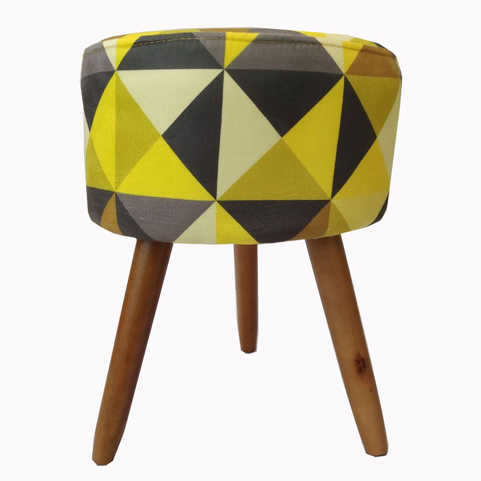 Puff Decorativo Milão Pé Palito Triângulos Amarelo