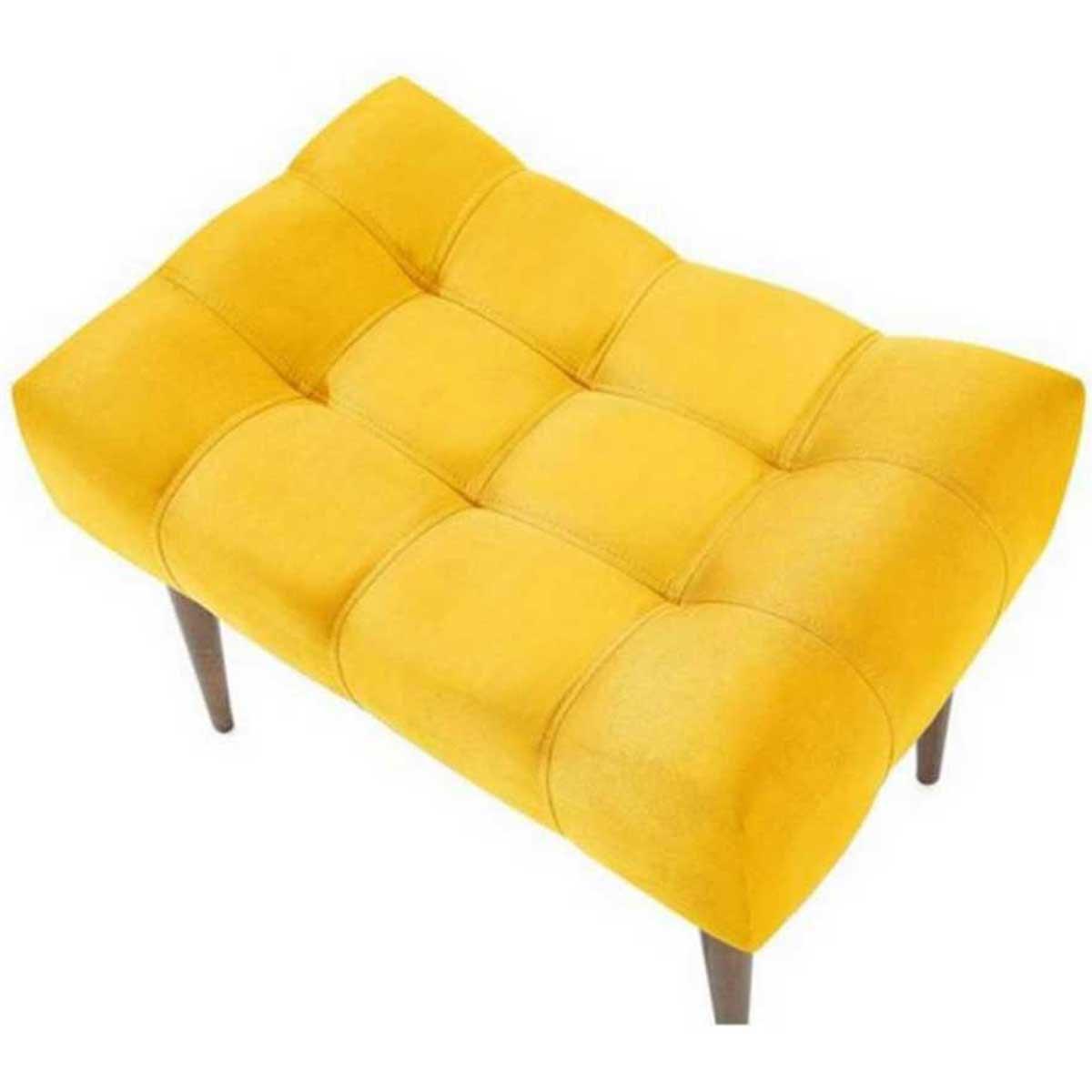 Puff Requinte Pés Palito Animale Amarelo
