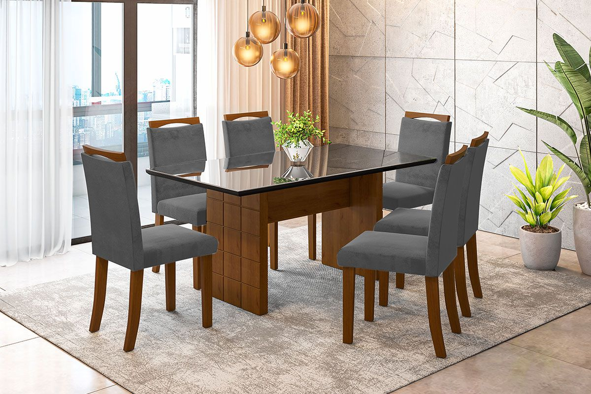 Sala de Jantar Miami com 6 Cadeiras Ônix Preto/Imbuia/Cinza