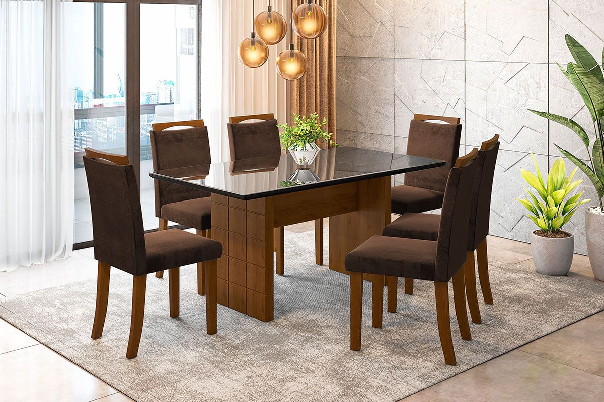 Sala de Jantar Miami com 6 Cadeiras Ônix Preto/Imbuia/Marrom
