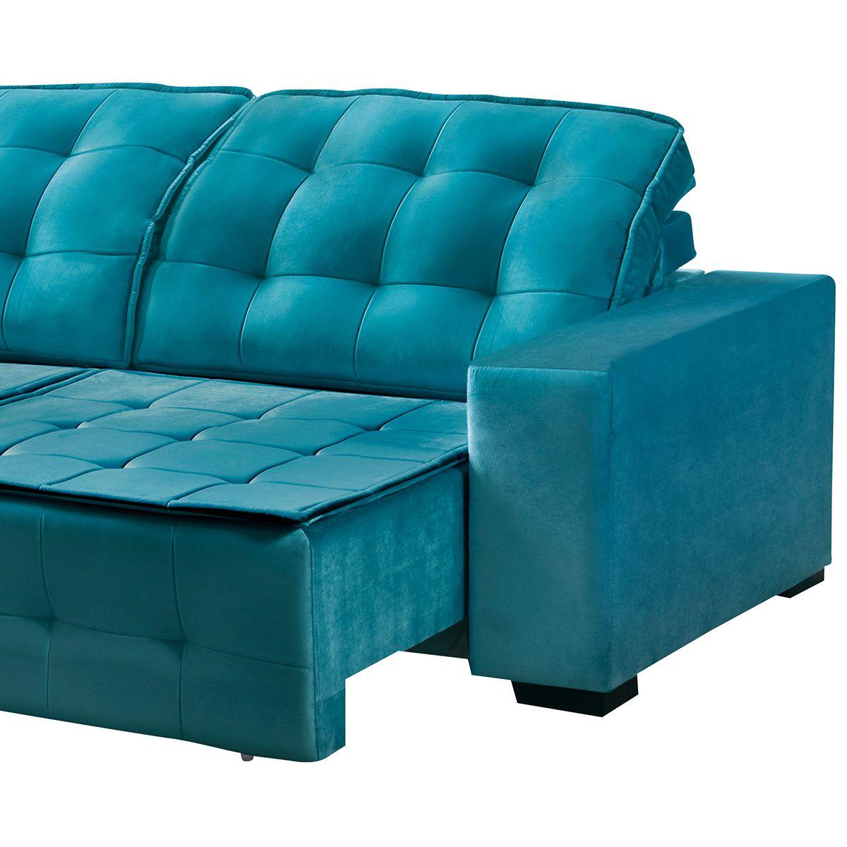Sofá Retrátil e Reclinável Istambul 2,50 m Veludo Azul Esmeralda