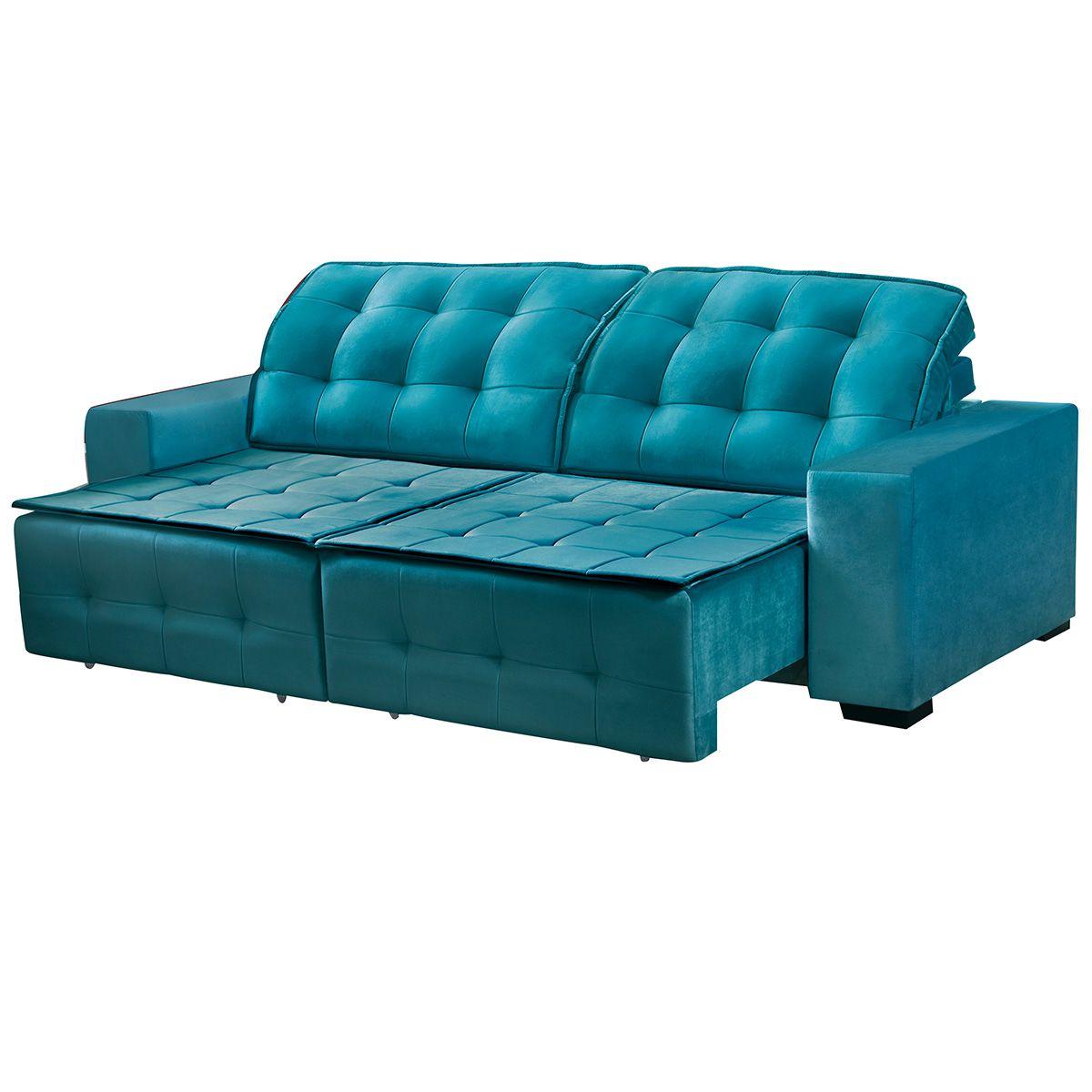 Sofá Retrátil e Reclinável Istambul 2,70 m Veludo Azul Esmeralda