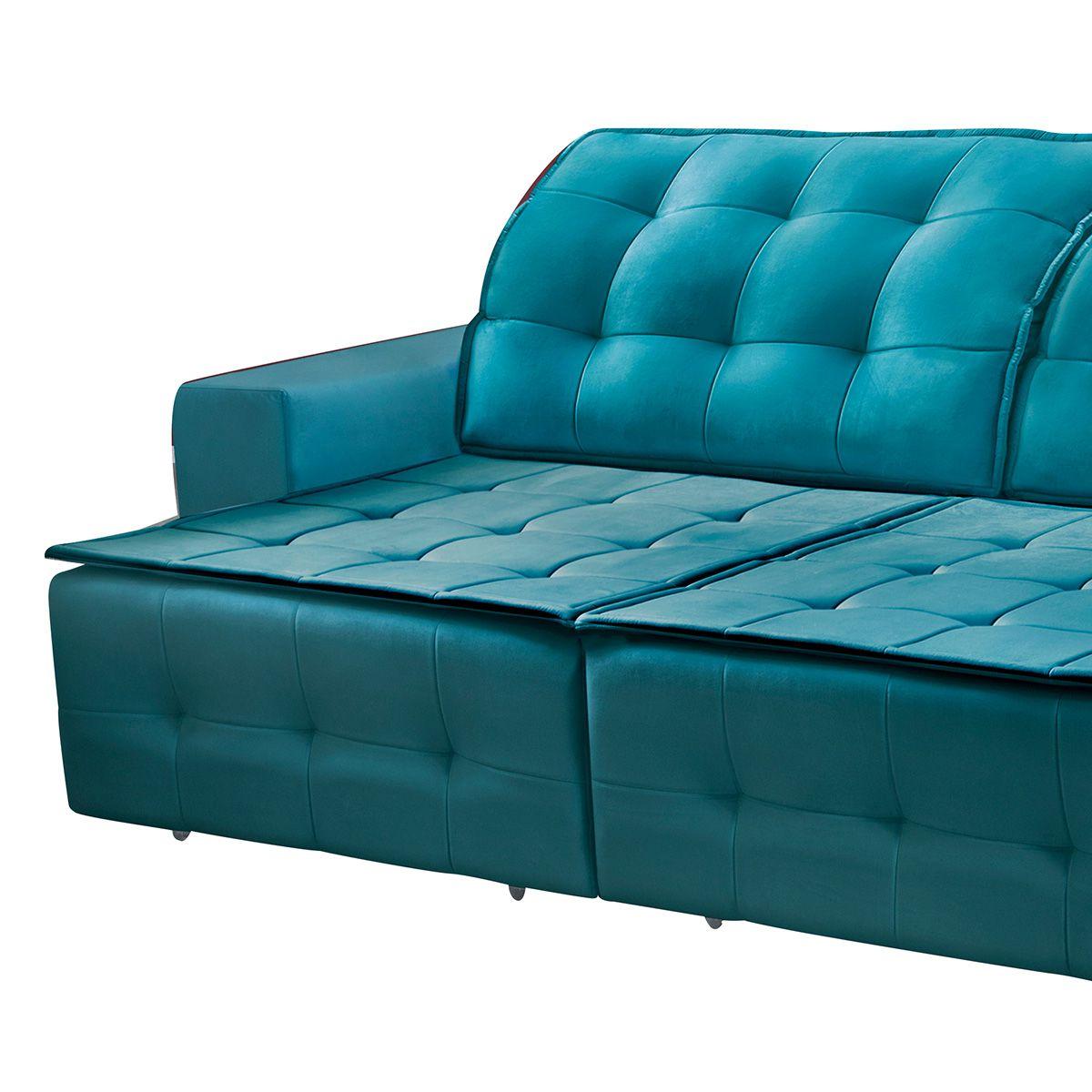 Sofá Retrátil e Reclinável Istambul 2,90 m Veludo Azul Esmeralda