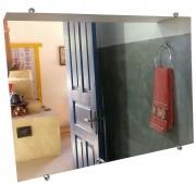Espelho de Banheiro Casa 3mm Com Botão Francês 30 X 50 Cm