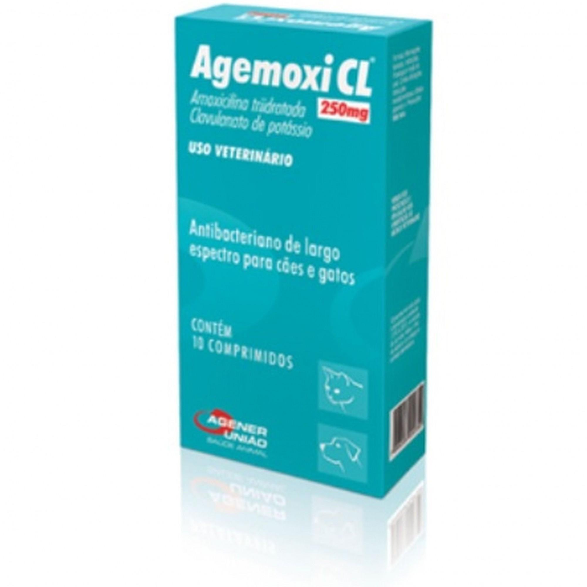 Agemoxi CL 250 mg com 10 comprimidos Agener Pet