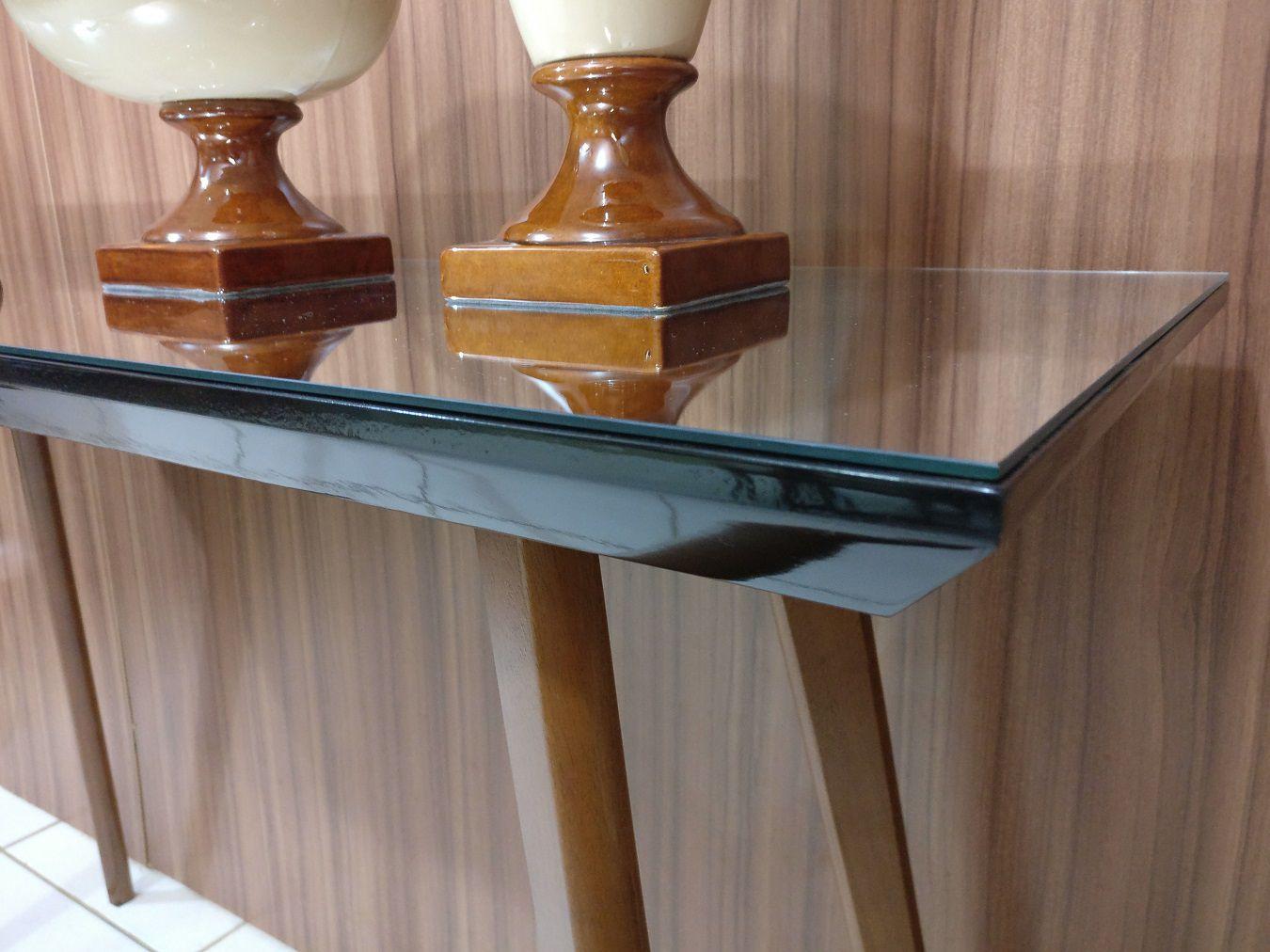 Aparador 5056 Canto Sala Decorativo Vidro Pé Madeira 1,2m