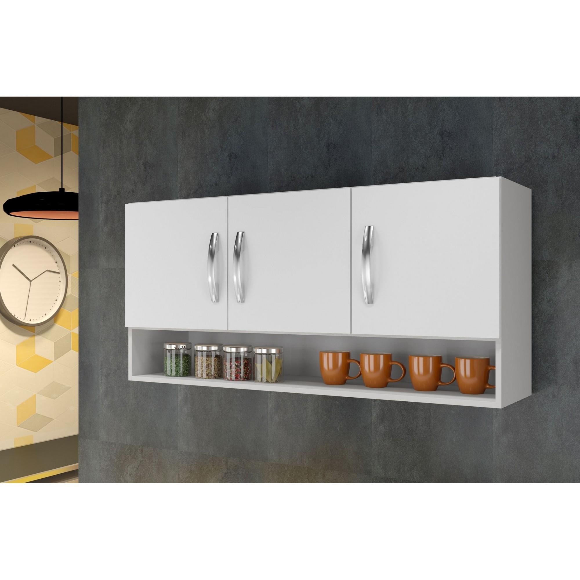 Armário Aéreo Plus 3 Portas Utilitário Cozinha Área Serviço